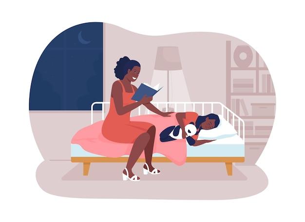 Lesen sie die geschichte vor dem schlafengehen 2d-vektor-isolierte illustration