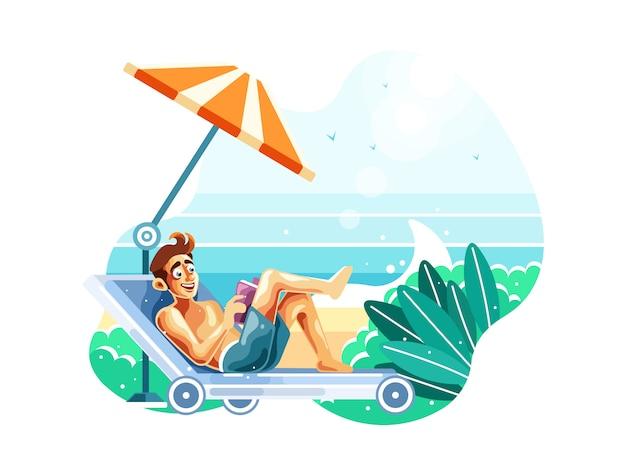 Lesen sie ein buch, während sie am strand entspannen