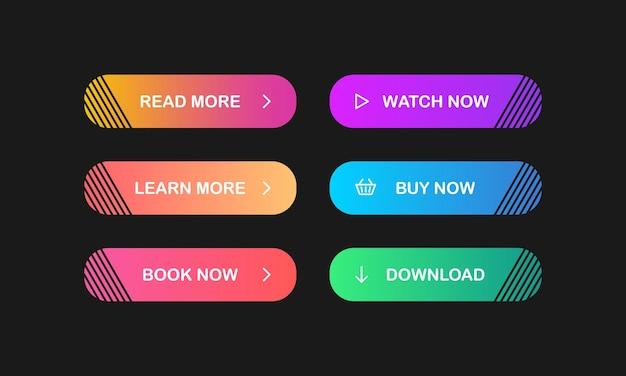 Lesen sie mehr, erfahren sie mehr, jetzt buchen, jetzt ansehen, jetzt kaufen, herunterladen. satz moderner mehrfarbiger schaltflächen mit farbverlauf für websites und soziale seiten. vektor. eps 10