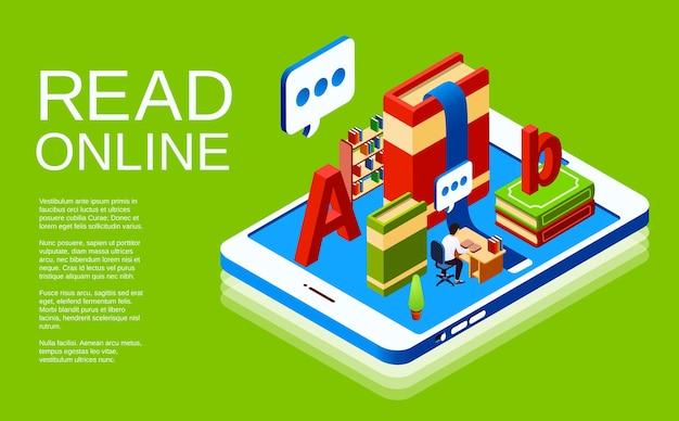 Lesen sie online-illustration der digitalen bibliothek.