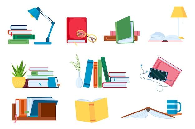 Lesen von literatur, flachen bücherstapeln und stapeln zum studieren. offene und geschlossene bücher mit lampe. buchhandlung, schule oder hörbuch-vektor-konzept-set. akademische lehrbücher für universität oder hochschule