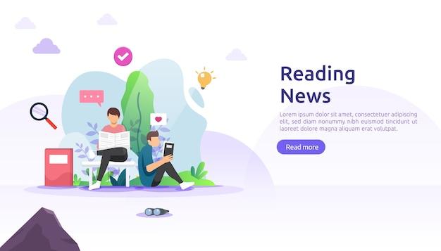 Lesen von zeitungen und online-nachrichtenmedien auf smartphone-konzept
