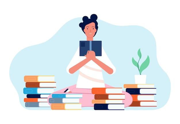 Lesendes mädchen. student mit buch, glücklicher frau und stapeln büchern. selbstbildung, studium oder prüfungsvorbereitung, selbstisolationszeit-vektorillustration. bildung und studium, student mit buch