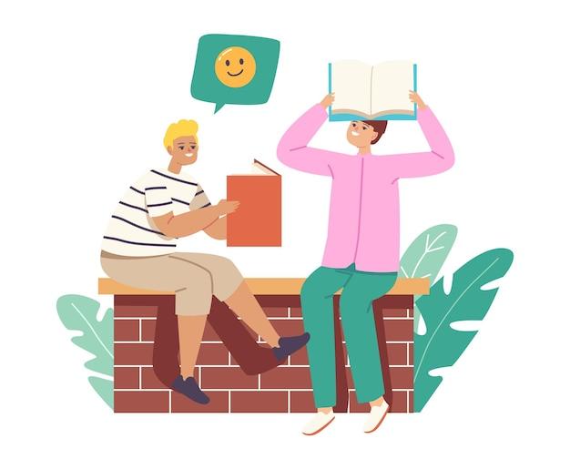 Leser- oder studentencharaktere, die ein buch über dem kopf halten, lesen, hausaufgaben lernen oder sich auf prüfungen an der universität oder dem college vorbereiten. bildung, wissenserwerb konzept. cartoon-menschen-vektor-illustration
