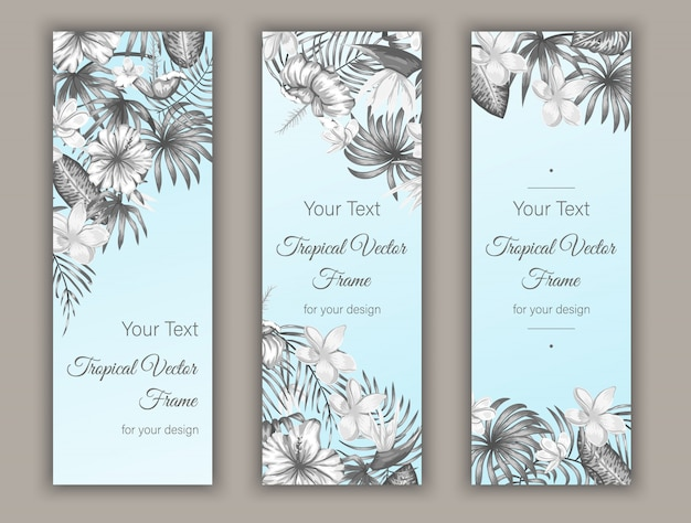 Lesezeichen mit tropischen blättern, plumeria, strelitzia und hibiskusblüten.