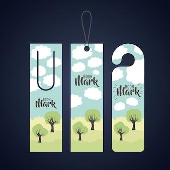 Lesezeichen mit wolken und bäumen symbol. reiseführer dekoration lesung und literatur thema. bunte de