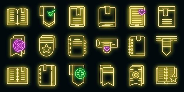 Lesezeichen-symbole gesetzt. umrisse von lesezeichen-vektorsymbolen neonfarbe auf schwarz