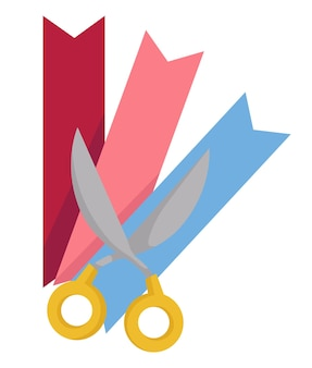 Lesezeichen und schere, isolierte ikone von papierstreifen und gegenstand zum schneiden. handarbeit und kreativität, zubehör für bücher von hand herstellen. workshop in der schule oder im kindergarten, vektor im flachen stil