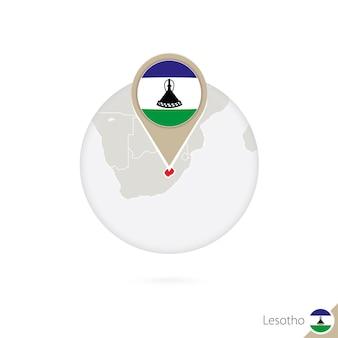 Lesotho-karte und flagge im kreis. karte von lesotho, lesotho-flaggenstift. karte von lesotho im stil des globus. vektor-illustration.