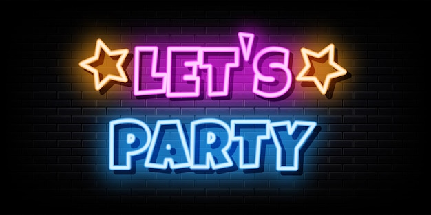 Lets party neon signs vector design template neon style