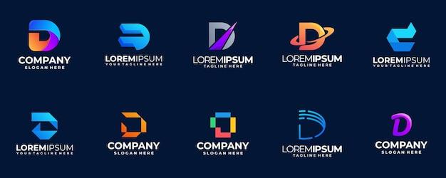 Letter d farbverlauf logo sammlung
