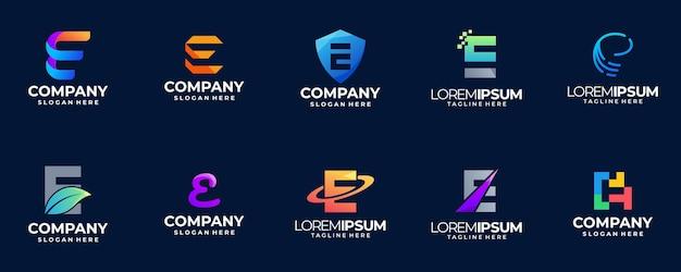 Letter e farbverlauf logo sammlung