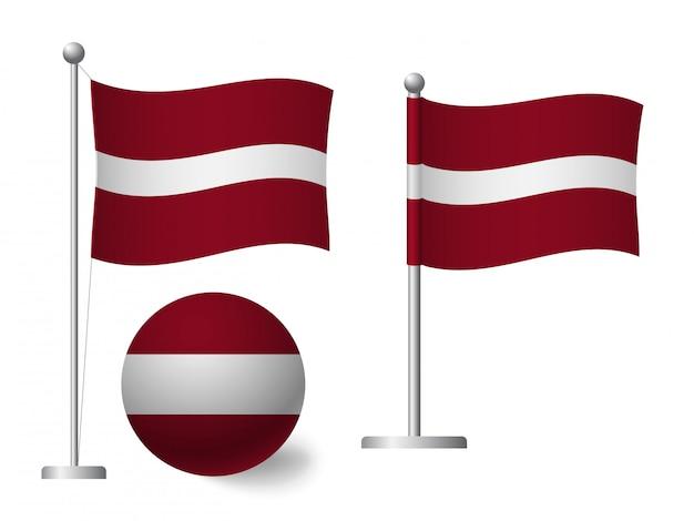 Lettland flagge auf stange und ballikone