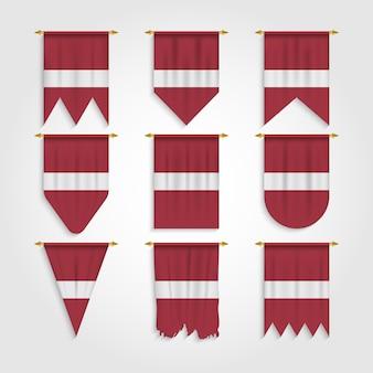 Lettland flagge mit verschiedenen formen, flagge von lettland in verschiedenen formen