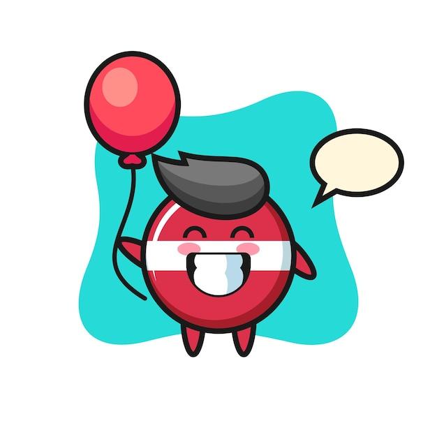Lettland-flaggen-maskottchen-illustration spielt ballon, niedliches design für t-shirt, aufkleber, logo-element