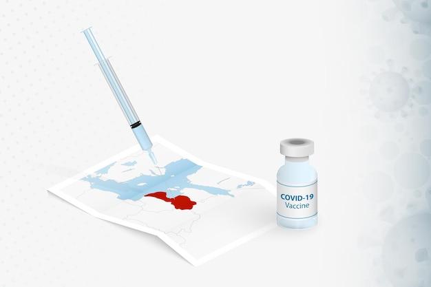 Lettland-impfung, injektion mit covid-19-impfstoff in der karte von lettland.