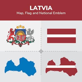Lettland karte, flagge und nationales emblem
