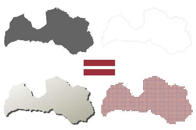 Lettland-vektor-übersichtskarte-set