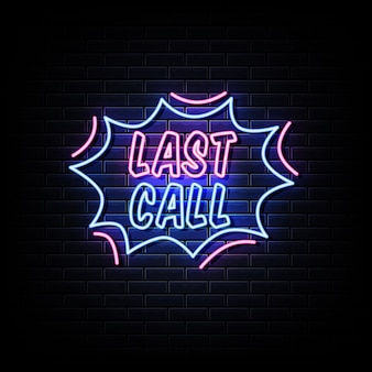 Letzter anruf neon signs style text