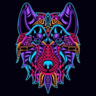 Leuchten im dunklen stil des wolfskopfes