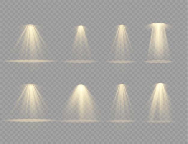 Leuchten sie den vertikalen theaterprojektorstrahl. lichtquellen, konzertbeleuchtung, bühnenscheinwerfer.