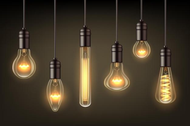 Leuchten sie realistische lampen. glühlampe hängen glühbirne draht vektor-illustrationen gesetzt