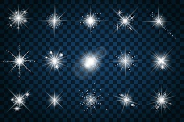 Leuchten sie sterne mit glitzern und funkeln. effekt funkeln, design blendung, szintillationselement zeichen, licht,