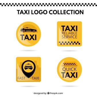 Leuchtend gelbe aufkleber taxi-set