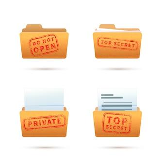 Leuchtend gelbe ordnersymbole mit dokumenten, archivordner mit rotem streng geheimem stempel isoliert