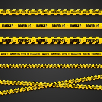 Leuchtend gelbe warnbänder. gefahrenbereich, coronovirus, warnhinweise