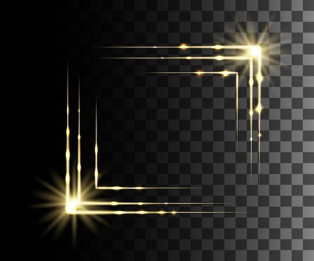 Leuchtend gelber transparenter effekt, linseneffekt, explosion, glitzer, linie, sonnenblitz, funke und sterne. für illustrationsschablonenkunst, für weihnachtsfeier, magischer blitz energiestrahl