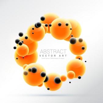 Leuchtend orange moleküle formen 3d-hintergrund kugel rahmen