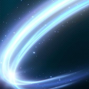 Leuchtende blaue linien der geschwindigkeit licht leuchtender effekt abstrakte bewegungslinien lichtspurwelle