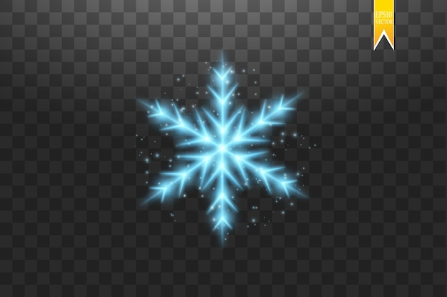 Leuchtende blaue schneeflocke mit glitzer lokalisiert auf transparentem hintergrund