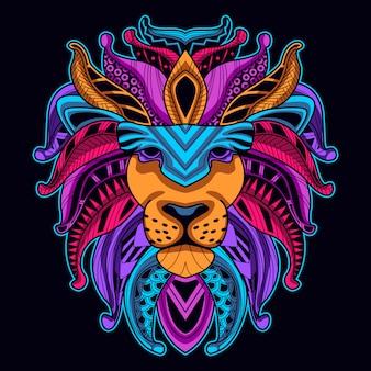 Leuchtende farbe des löwenkopfes