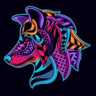 Leuchtende farbe wolf
