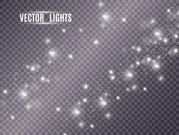 Leuchtende gelbe kreise. weiße funken und goldene sterne glitzern als besonderer lichteffekt. funkelt auf transparentem hintergrund. abstraktes weihnachtsmuster. funkelnde magische staubpartikel
