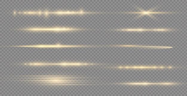 Leuchtende gelbe linie laserstrahlen helles gold blendende horizontale lichtstrahlen blinken lens flares pack