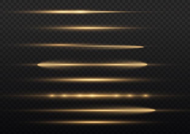 Leuchtende gelbe linie, laserstrahlen, hellgoldene blendung, schöne lichtfackel, horizontale lichtstrahlen