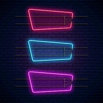 Leuchtende geometrische neonrahmen. neonlicht eingestellt. realistisches leuchtschild.