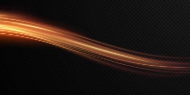 Leuchtende goldene gewellte lichtlinie auf einem transparenten hintergrund goldenes licht elektrisches licht png