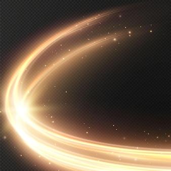 Leuchtende goldene kreislinien der geschwindigkeit licht leuchtender effekt abstrakte bewegung goldene kreislinien