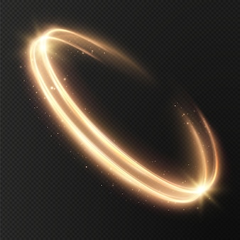 Leuchtende goldene linien der geschwindigkeit licht leuchtender effekt, abstrakte bewegung goldene linien weihnachtselement.