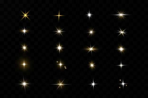 Leuchtende goldene sterne auf schwarzem hintergrund. effekte, blendung, linien, glitzer, explosion, goldenes licht. illustration.set.