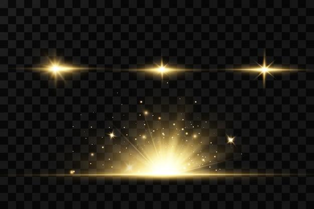 Leuchtende goldene sterne auf schwarzem hintergrund. effekte, blendung, linien, glitzer, explosion, goldenes licht. illustration