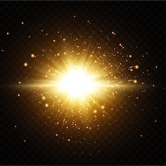 Leuchtende goldene sterne auf schwarzem hintergrund.