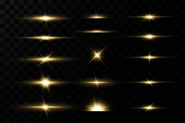 Leuchtende goldene sterne isoliert auf schwarz