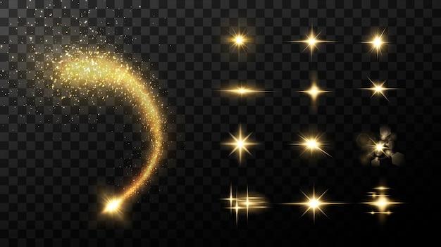 Leuchtende goldene sterne isoliert auf schwarzen effekten linseneffekt glanz explosion goldenes licht set leuchtende sterne