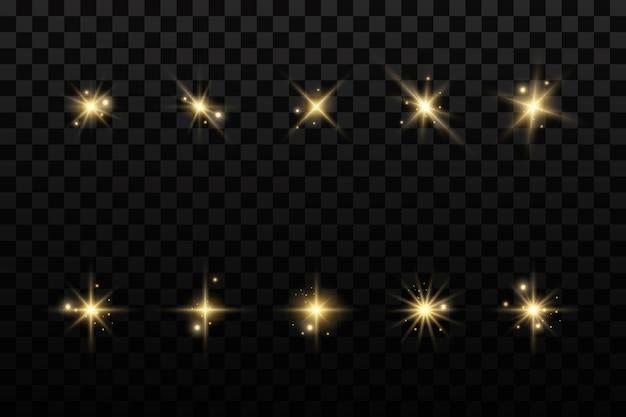 Leuchtende goldene sterne isoliert auf transparentem hintergrund. effekte, blendung, linien, glitzer, explosion, licht