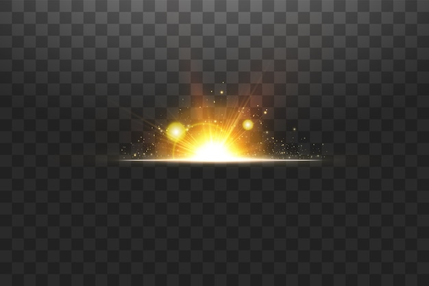 Leuchtende goldene sterne isoliert. effekte, blendung, linien, glitzer, explosion, goldenes licht